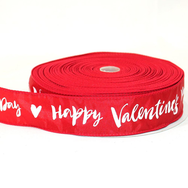 "1.5"" Happy Valentine's Day Calligraphy Riboon 50 Yards"