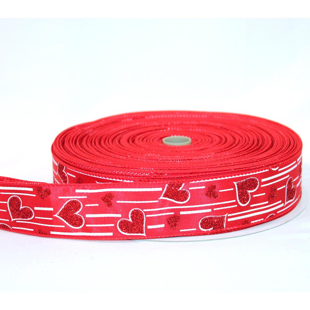 "1.5"" Red Satin Glitter Hearts Ribbon"