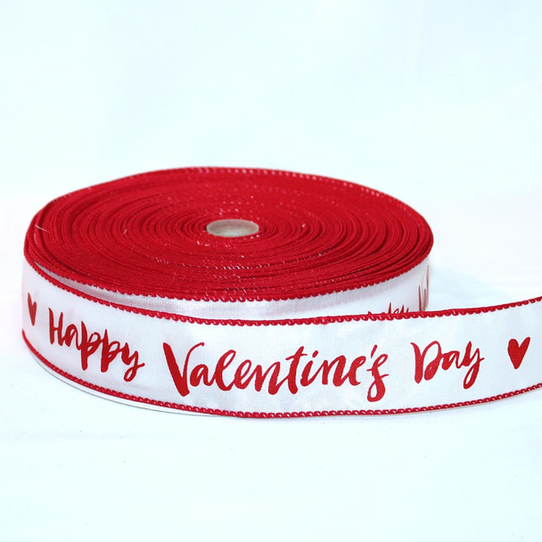 "1.5"" Happy Valentine's Day Calligraphy Ribbon"