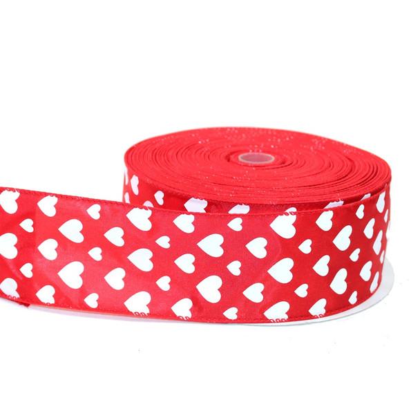 "2.5"" Red & White Satin Hearts Ribbon"