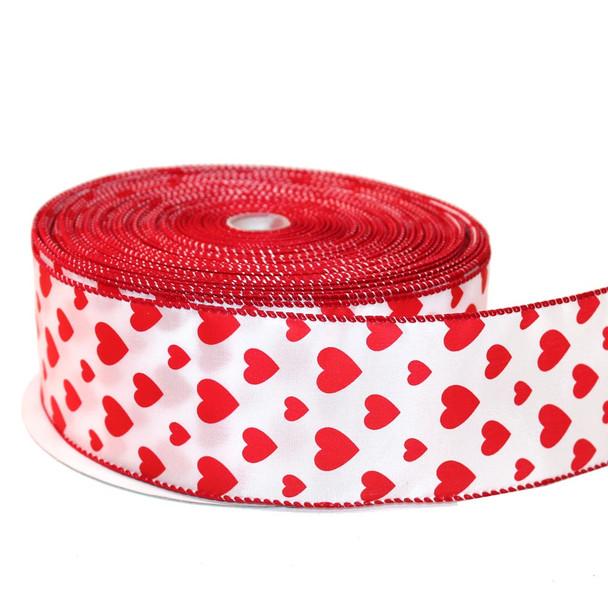 "2.5"" White & Red Satin Hearts  Ribbon"