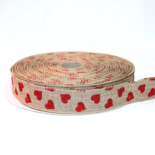 "1.5"" Natural Canvas Burlap Red Glitter Hearts Valentines Ribbon 50 Yards"