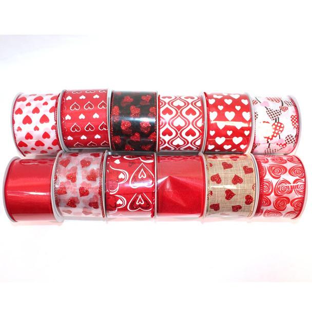 """2.5"""" Assorted Red Chiffon Ribbon"""