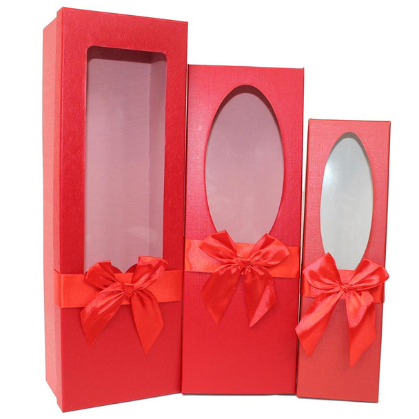 """17.5"""" Red Floral Gift Boxes with Window Set of 3"""
