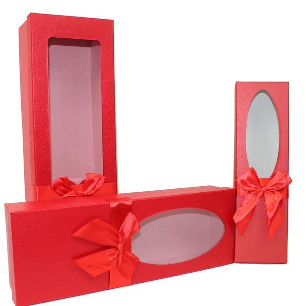 "17.5"" Red Floral Gift Boxes with Window Set of 3"