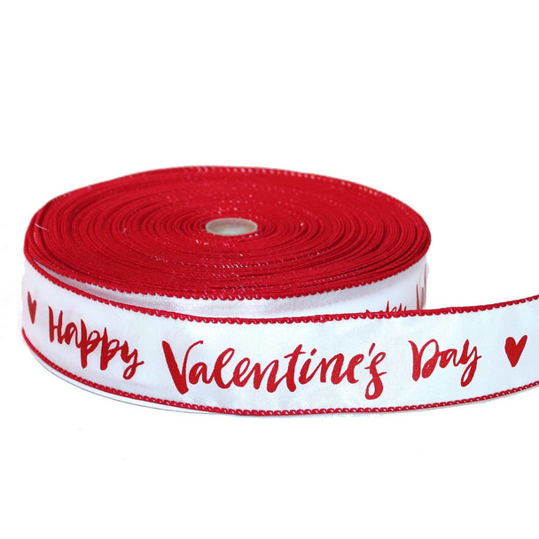"1.5"" Happy Valentine's Day Calligraphy Ribbon - Set AB"