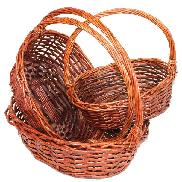 Stained Oval Willow Basket With Handle Set of 3
