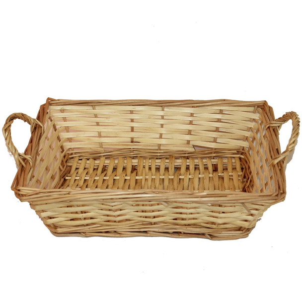 "14"" Rectangular Willow Tray Basket with Ears"