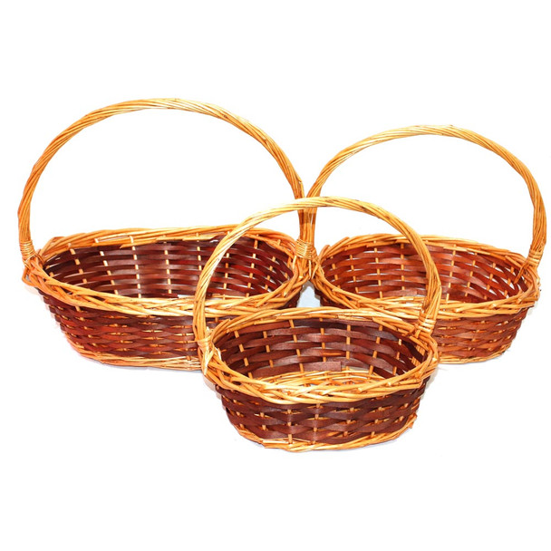 Oval Willow Basket With Handle Set of 3