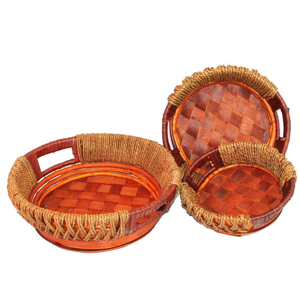 Willow and Rope Round Tray Basket with Handle Set of 3