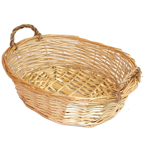 "16"" Oval Willow Tray Basket with Ears"