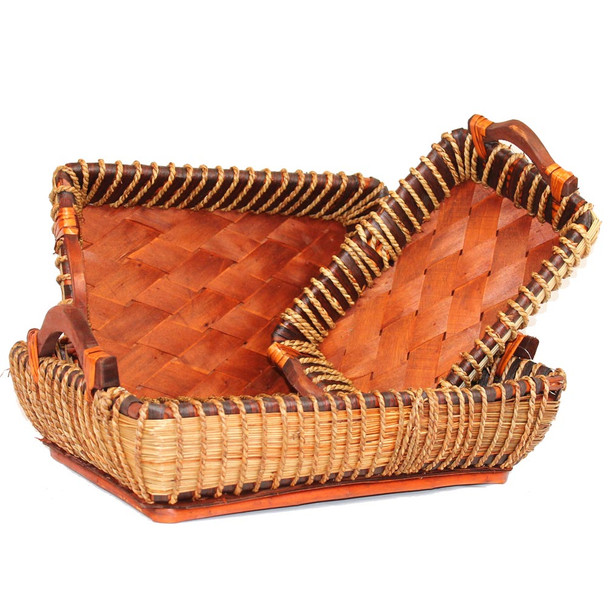 Stained Rectangular Willow  Rope Tray Basket Set of 3