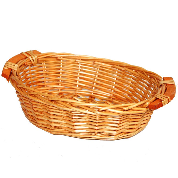 "12"" Oval Buffet Willow Tray Basket with Wood Handle"