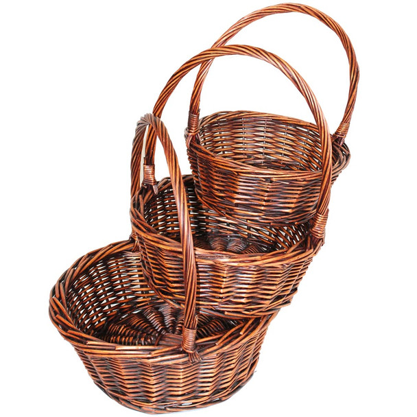 Stained Brown Round Willow Basket With Handle Set of 3