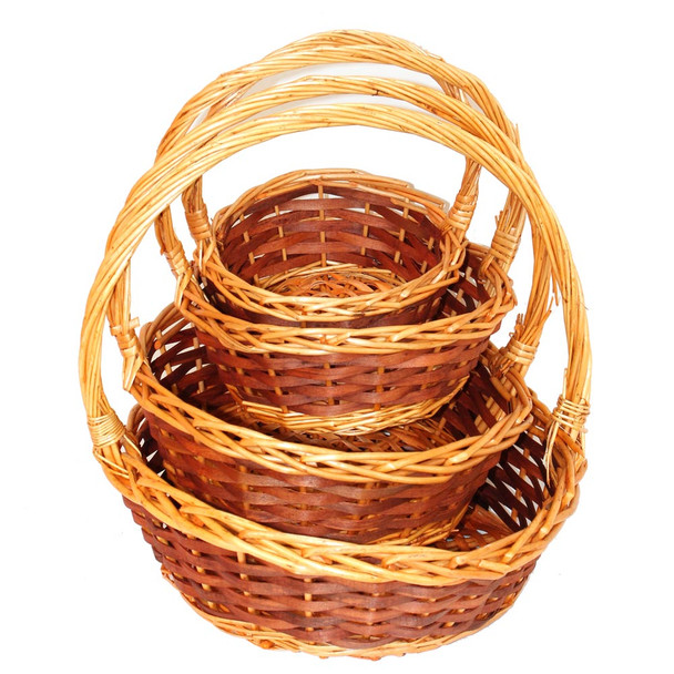 Honey Round Willow Basket With Handle Set of 4