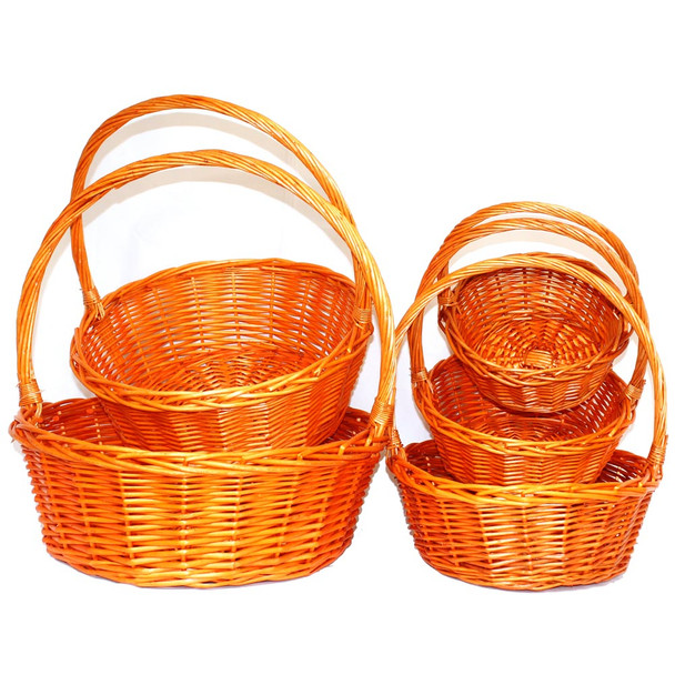 Round Orange Willow Baskets with Handles  Set of 5