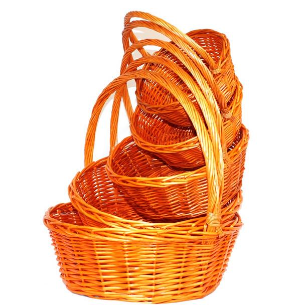 Orange Round Willow Basket with Handle Set of 5