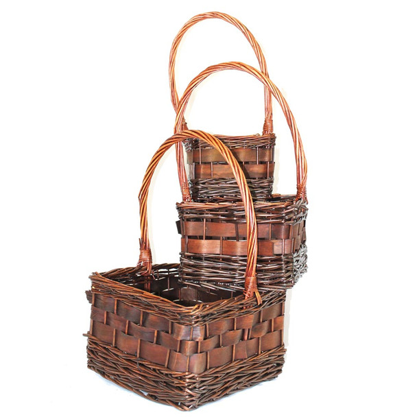 Square Stained Willow Baskets Set of 3