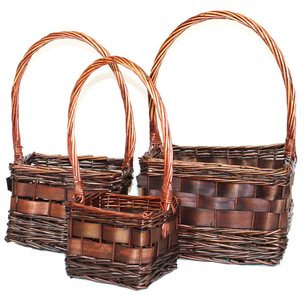 Stained Square Willow Basket With Handle Set of 3