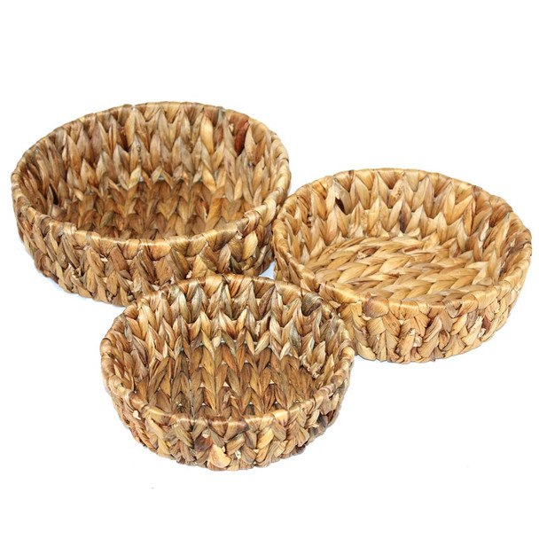 Round Banana Leaf Basket Set of 3
