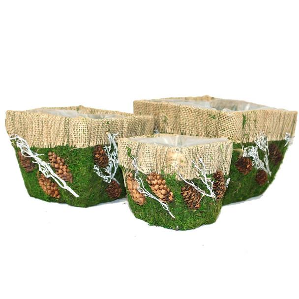 Square Burlap and Moss Deco Planter Basket Set of 3