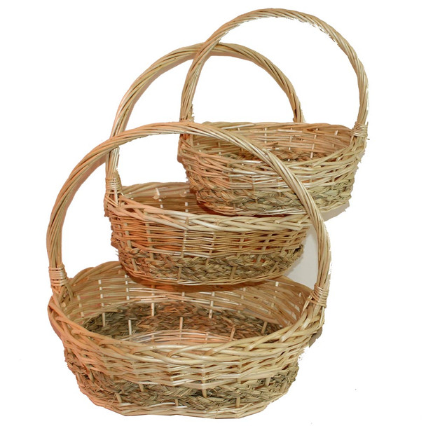 Natural Willow Oval Basket with Natural Rope & Handle Set of 3