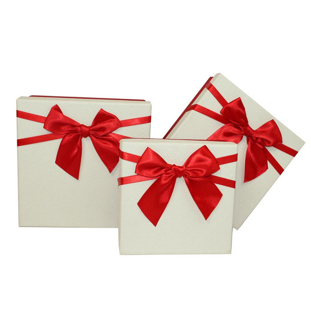 """7.5"""" Ivory and Red Small Floral Gift Boxes Set of 3"""
