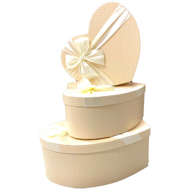 """12"""" Cream Heart Floral Gift Boxes Set of 3"""