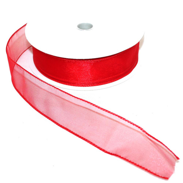 "1.5"" Red Wired Sheer Ribbon"