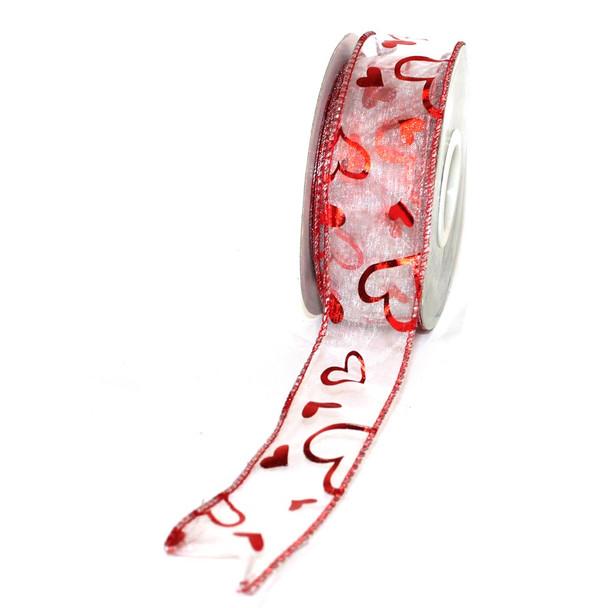 """1.5"""" Shiny Hearts Sheer Ribbon"""