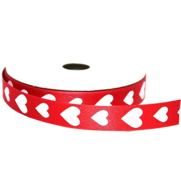 """5/8"""" Red and White Hearts Satin Ribbon"""