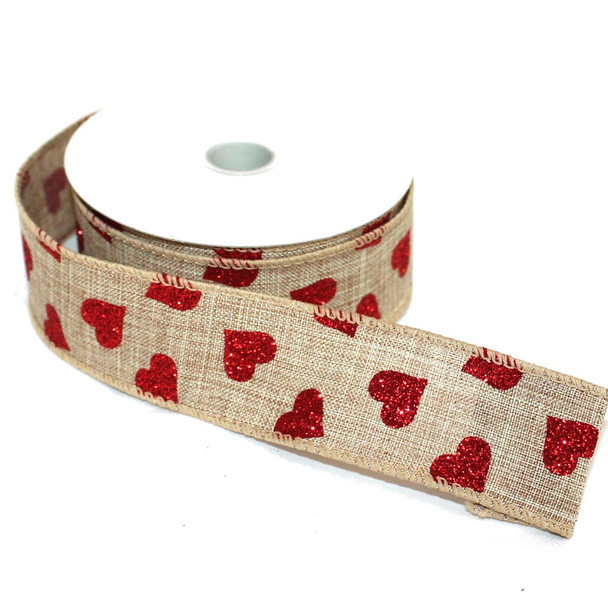 """1.5"""" Red Hearts Burlap Wired Ribbon"""