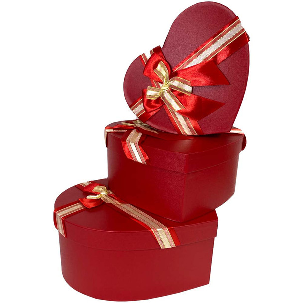 """12"""" Red Floral Heart Gift Box with Ribbon - Set of 3"""