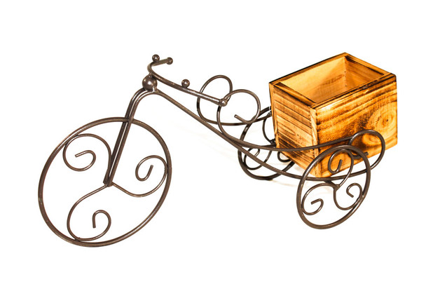 """15"""" Wood and Iron Bicycle Planter"""