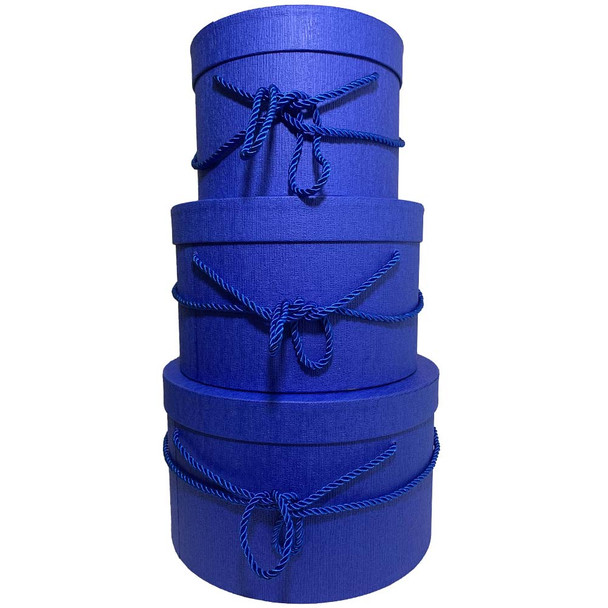 """10"""" Blue Round Gift Boxes Set of 3"""