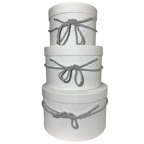 """10"""" White Round Gift  Boxes Set of 3"""