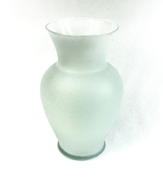 "11""H Frosted White Spring Garden Glass Vase"