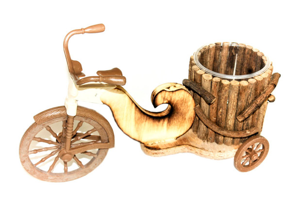 """12"""" Wood and Plastic Bicycle Planter"""