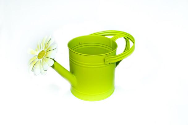 "6""H Semi Gloss  Green Flower Water Can"