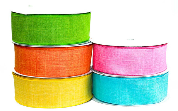 "2.5"" Assorted Colors Wired Canvas Ribbon"
