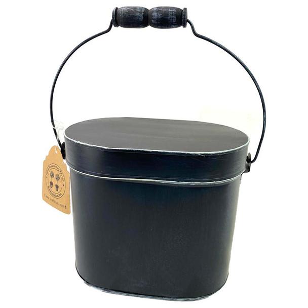 """6.75""""H Black Enamel Metal Box"""
