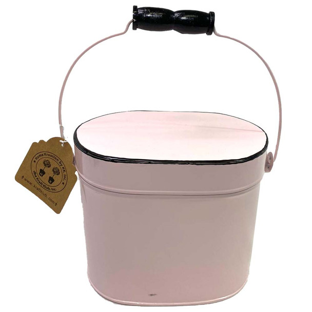"6.75""H Pink Enamel Metal Box"