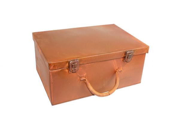 """12"""" Brown Antique Rectangular Rustic Suitcase"""