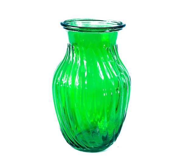 "8""H  Green Swirl Glass Vase"