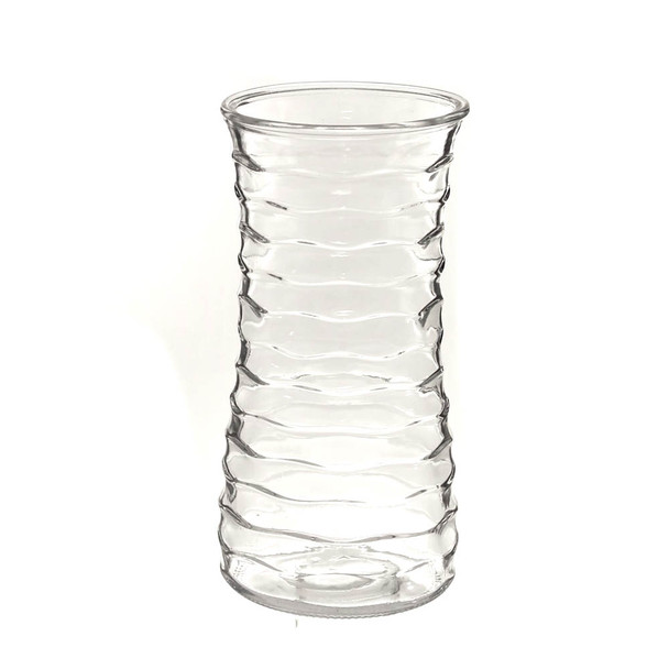 "9.5""H Clear Ribbed Glass Rose Vase"