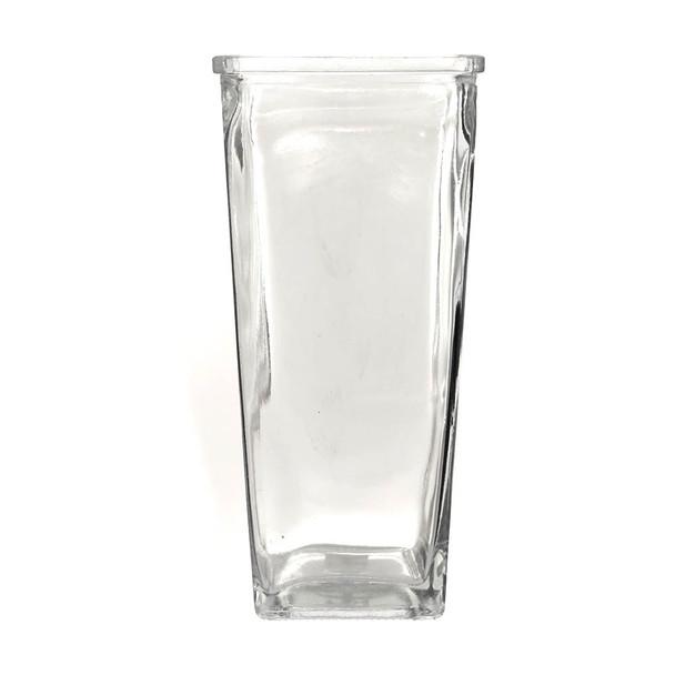 "9""H Tapered Glass Square Vase"