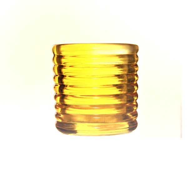 "2.5""H Yellow  Glass Candle Holder"