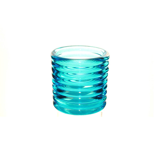 """2.5""""H Blue Glass Candle Holder"""