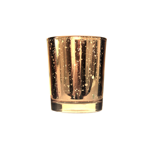 """3""""H Gold Mercury Glass Candle Holder"""