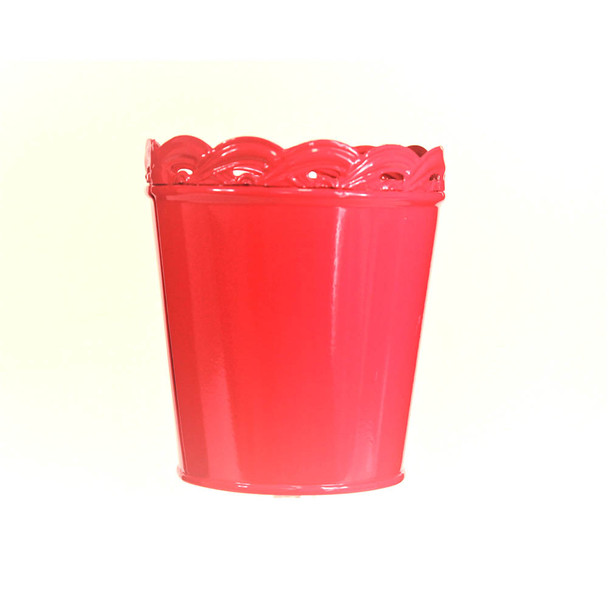 4'' Hot Pink Metal Bucket With Waved Edge